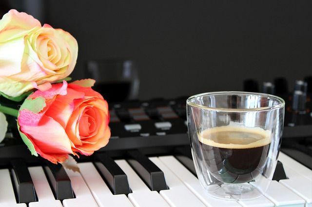 espresso con flores